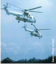 RSAF's Super Puma helicopters (in UN colours) supporting UNTAC from May to Jun 1993.