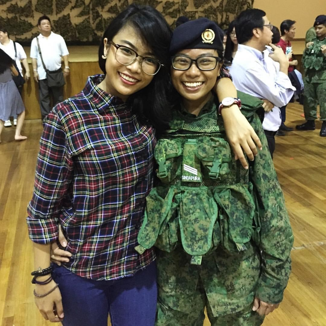 1SG Aini (left) and SSG Fatin (right) when Fatin was a Specialist Cadet Trainee.