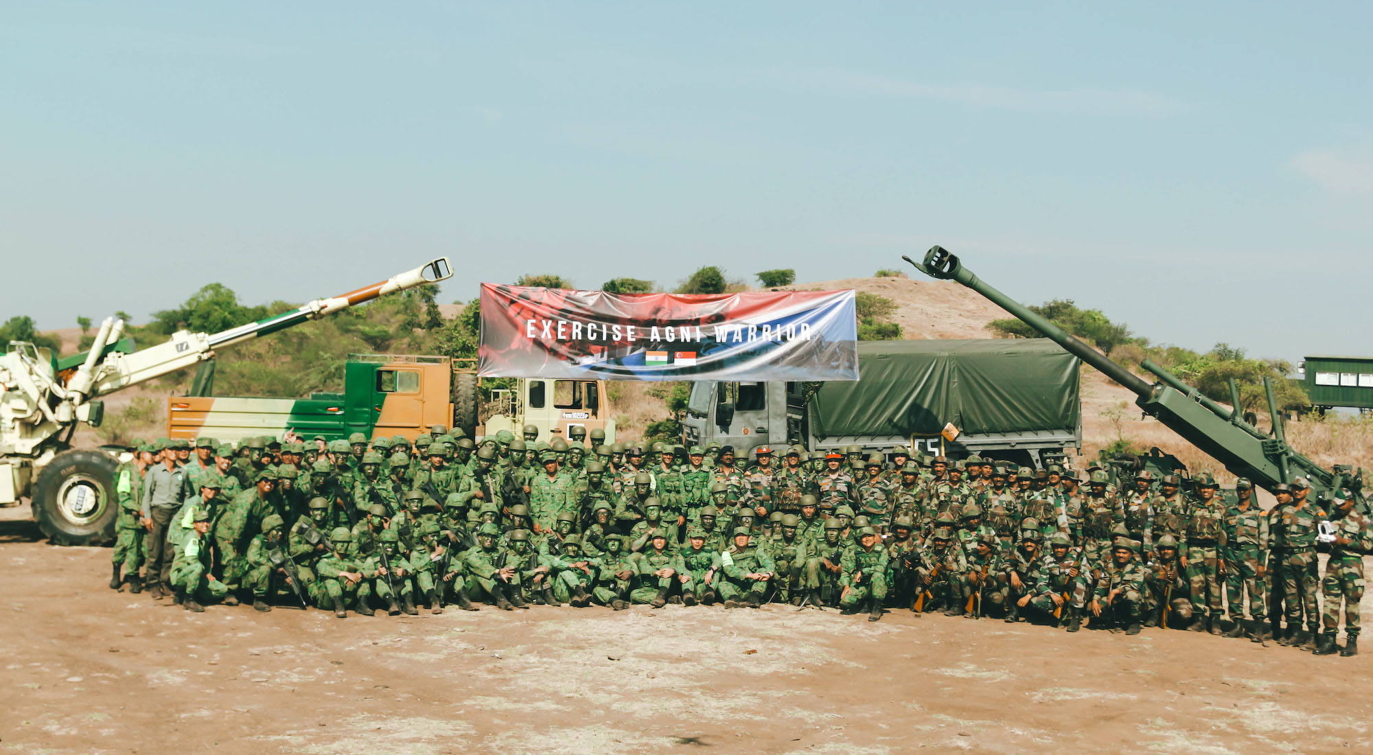 Group photo of the troops from SAF and the Indian Armed Forces.