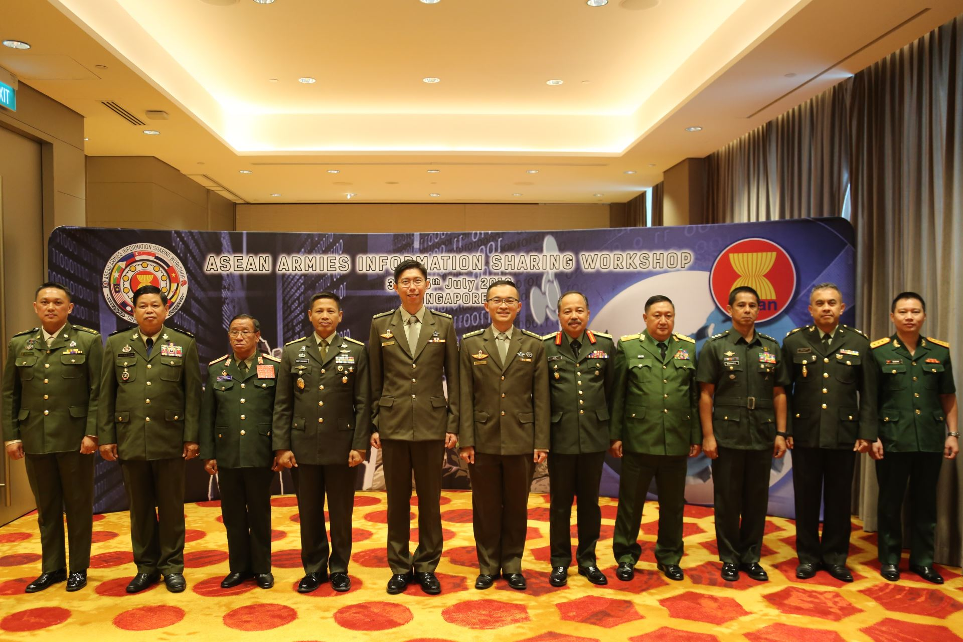 Singapore's Chief of Army Brigadier-General (BG) Goh Si Hou (fifth from left) with the ASEAN Armies' Intelligence Chiefs at the inaugural ASEAN Armies Information Sharing Workshop (AAISW).