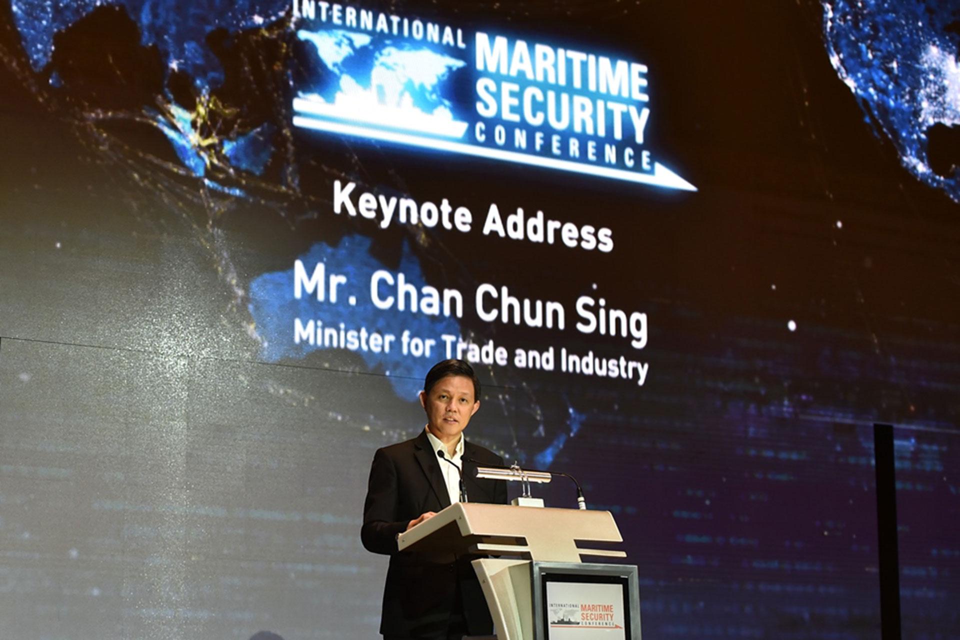 Minister for Trade and Industry Mr Chan Chun Sing delivering the keynote address at the International Maritime Security Conference (IMSC) opening dinner at JW Marriott Hotel.