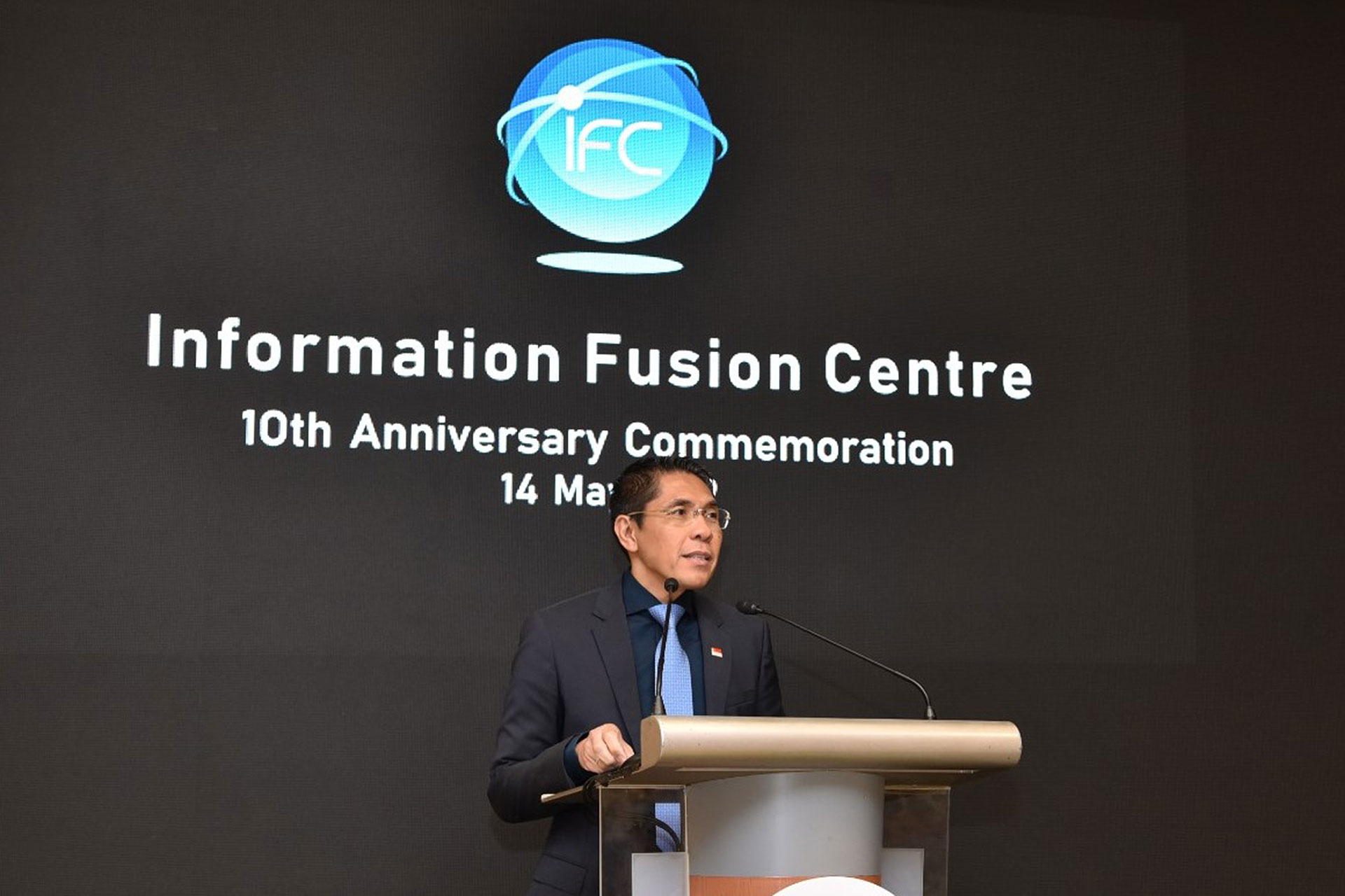 Senior Minister of State for Defence Dr Maliki Bin Osman speaking at the Republic of Singapore Navy (RSN)'s Information Fusion Centre (IFC)'s 10th anniversary celebrations.
