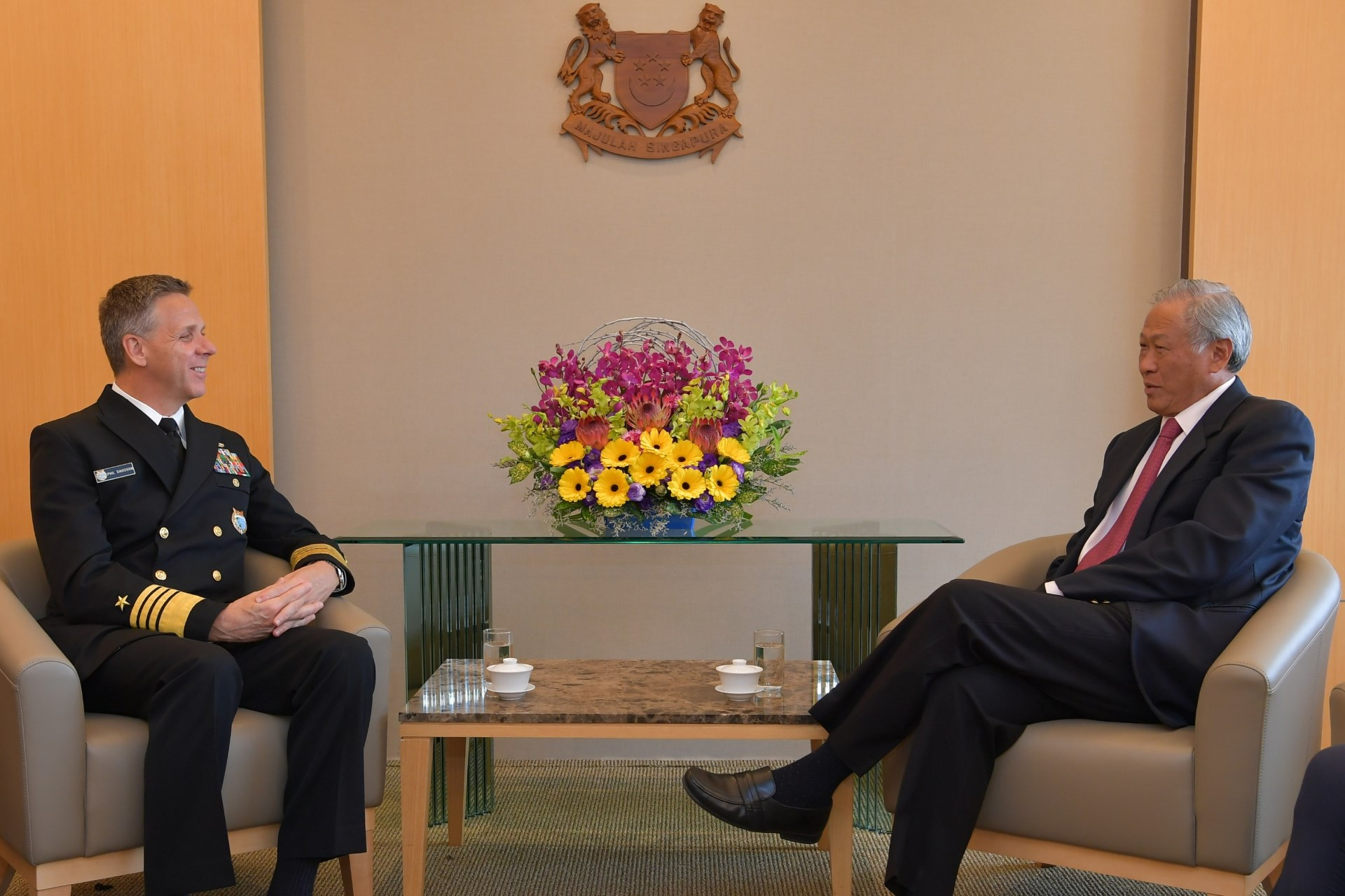 Commander of the US Indo-Pacific Command Admiral (ADM) Philip Davidson calling on Minister for Defence Dr Ng Eng Hen this morning at the Ministry of Defence (MINDEF).
