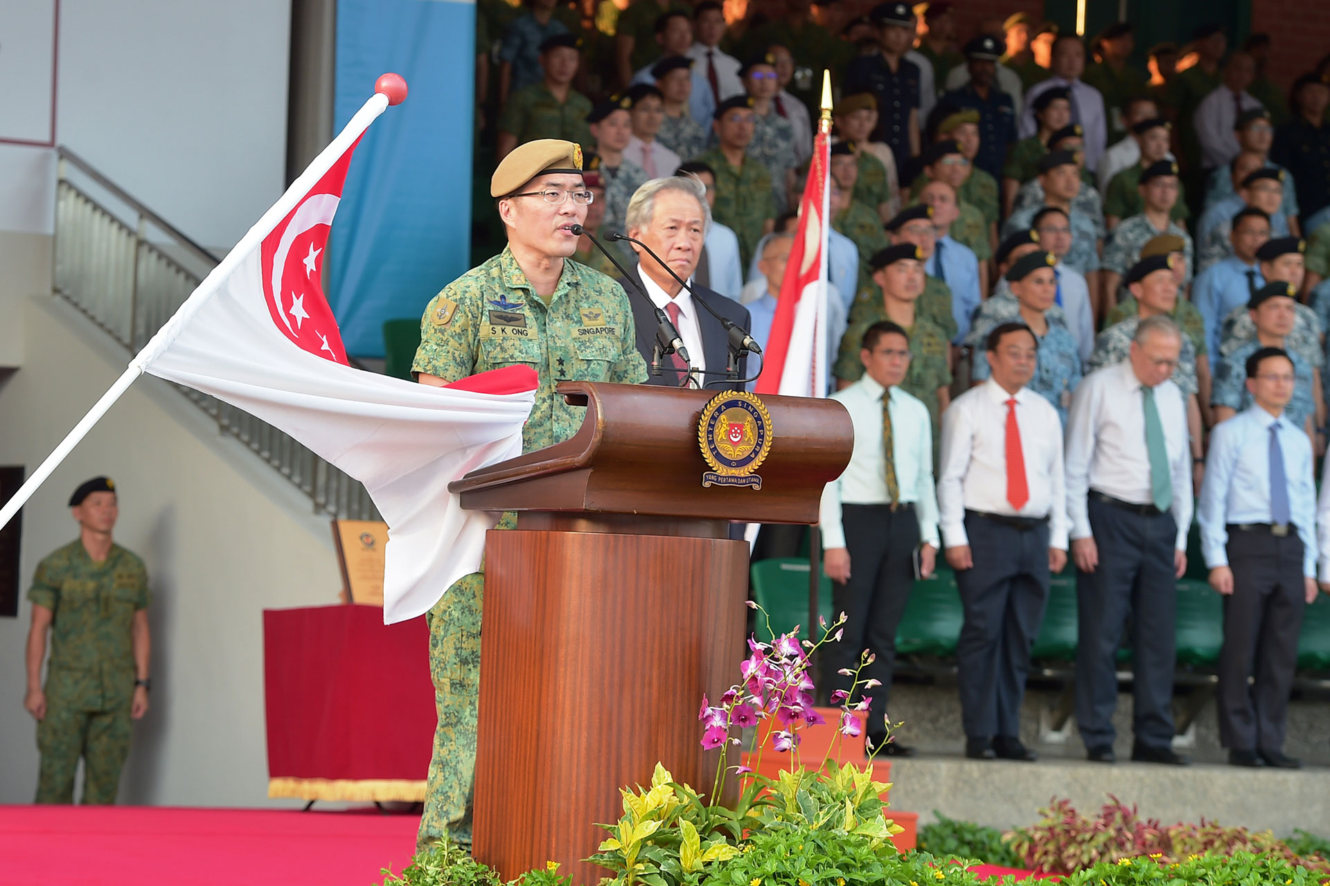 MG Ong taking oath as the new Chief of Defence Force at the Change of Command Parade this evening.