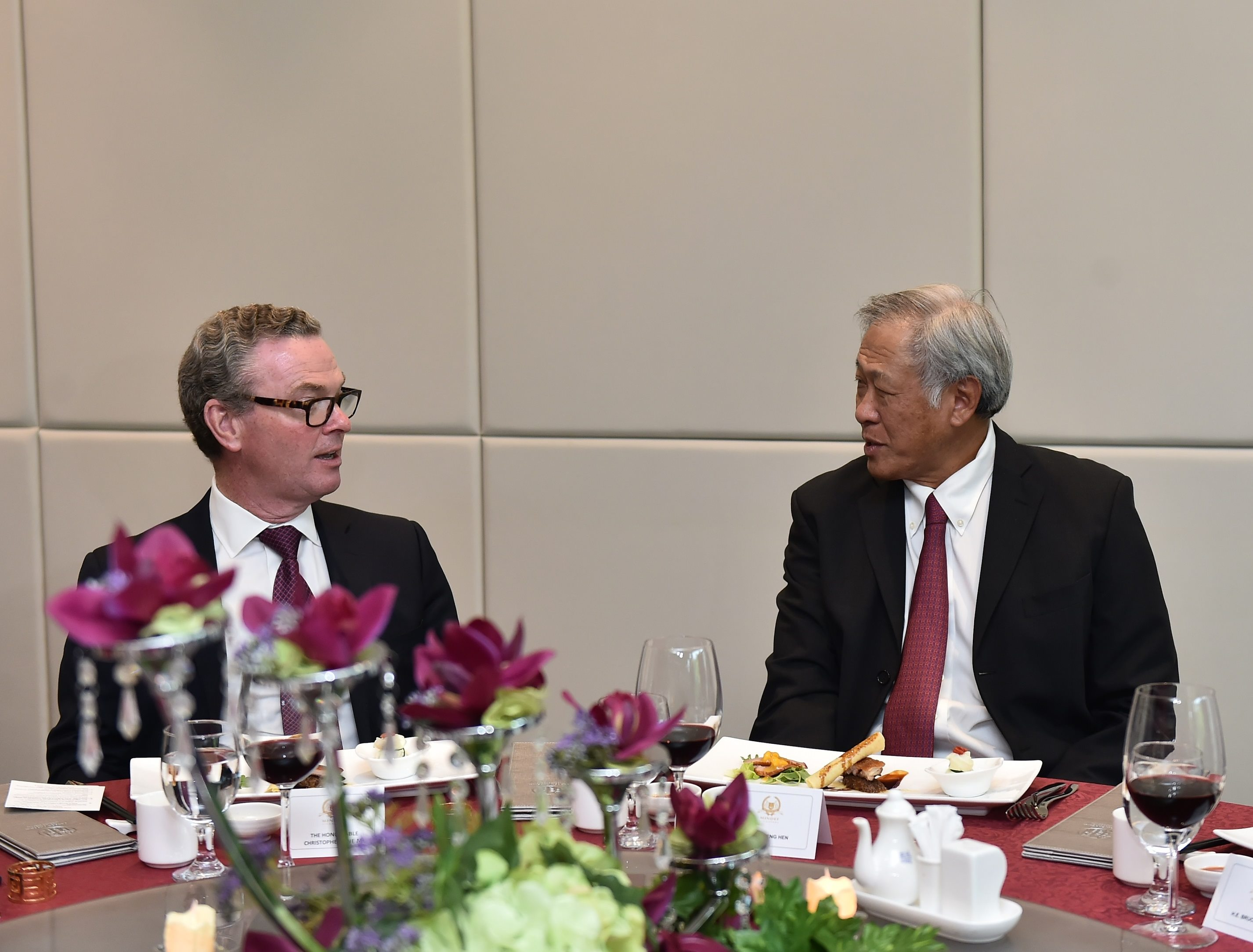 Minister for Defence Dr Ng Eng Hen (right) hosting a lunch for Australian Minister for Defence Christopher Pyne (left) earlier today.