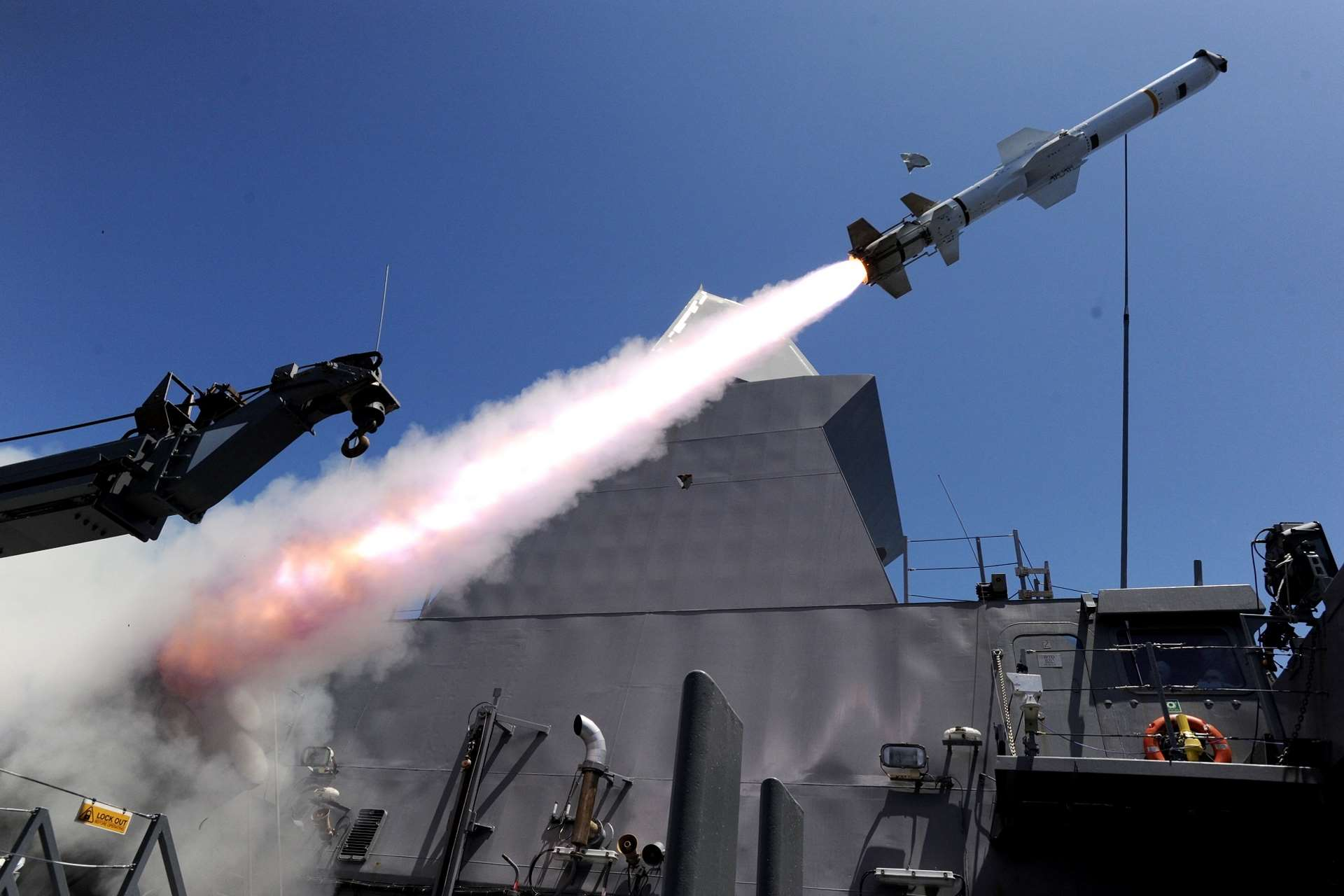 One of the two Harpoon missiles launched from the Republic of Singapore (RSN)'s Formidable-class frigate RSS Tenacious, in a Simultaneous Time-on-Target Harpoon surface-to-surface live missile firing conducted by the RSN.