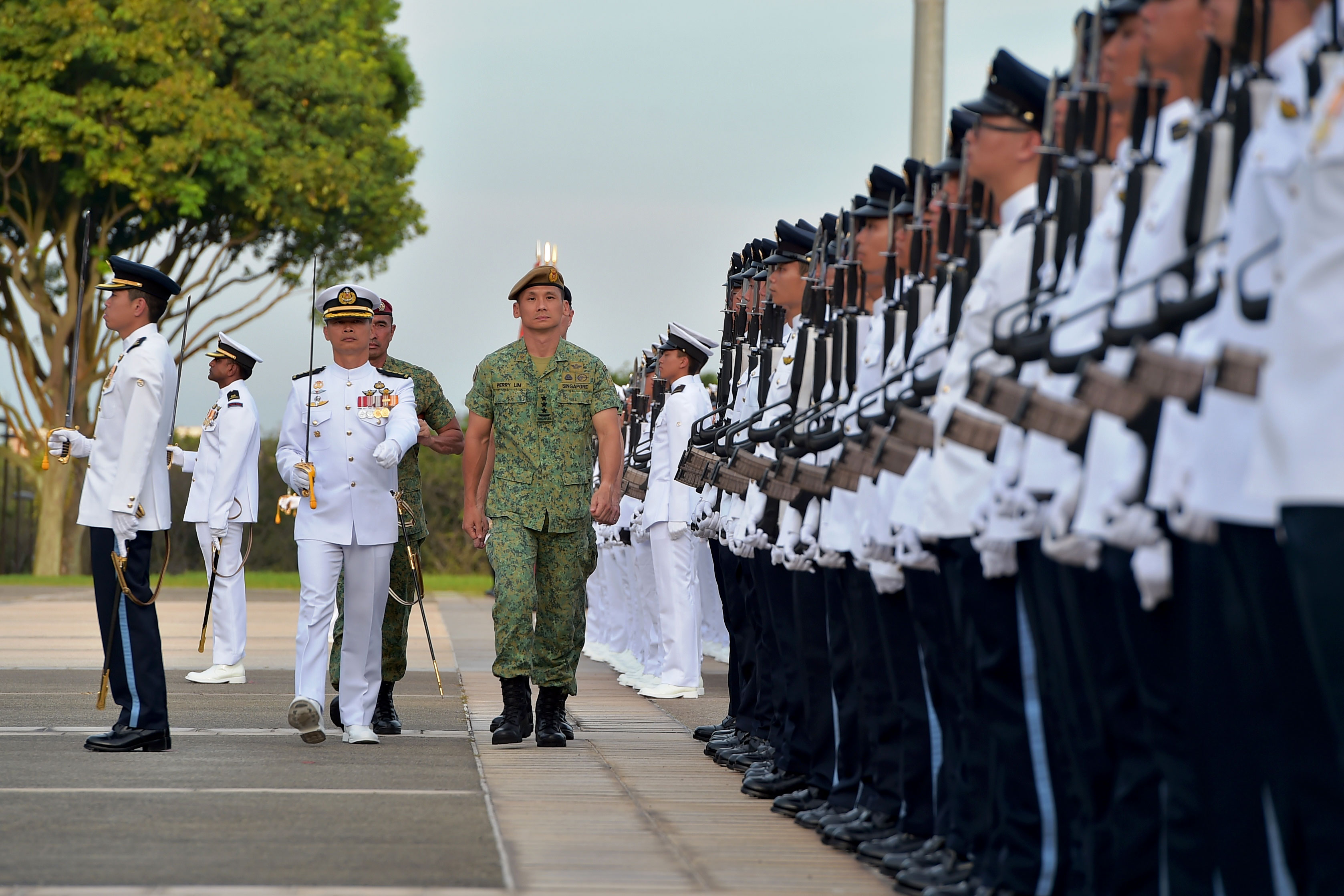 LG Lim inspecting the Guard of Honour contingent.