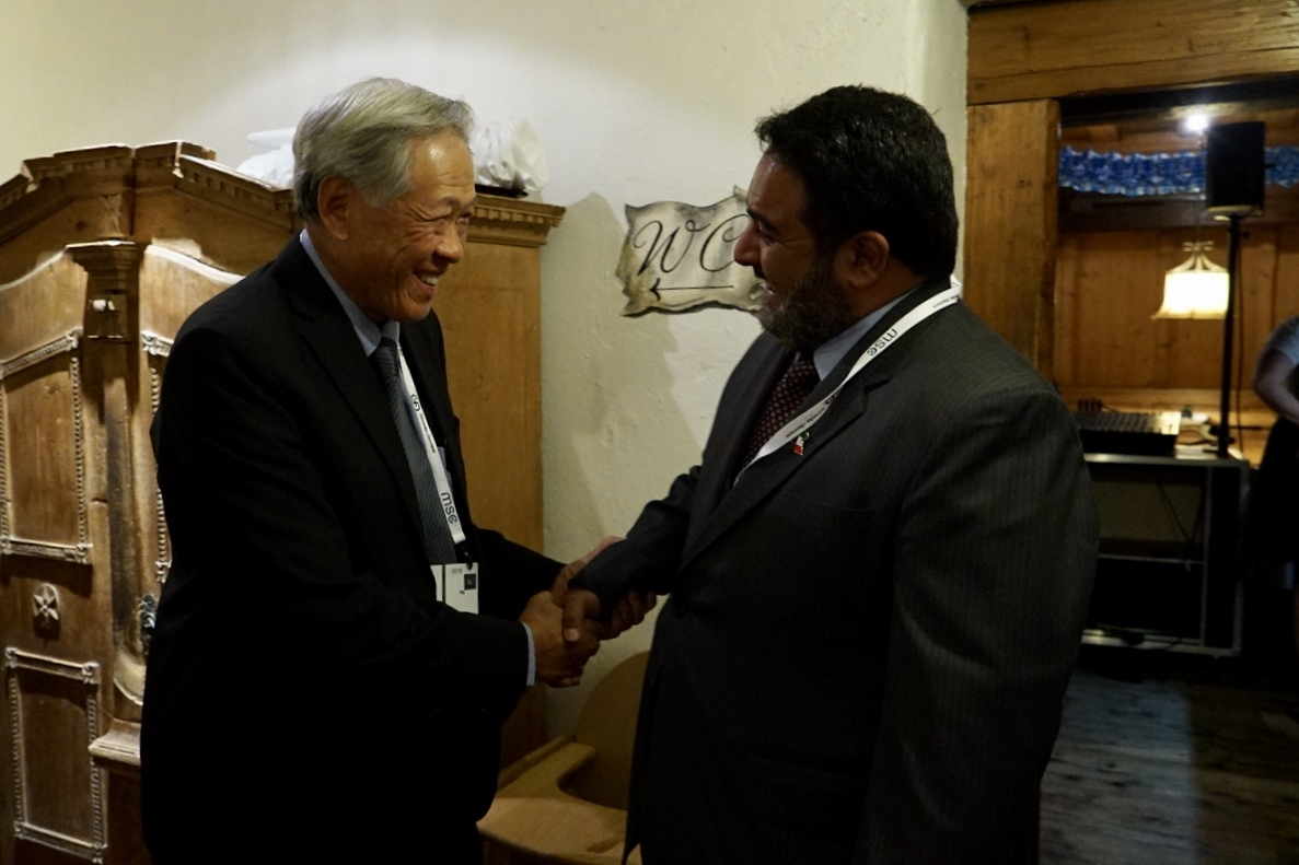 Minister for Defence Dr Ng Eng Hen (left) with the President of the Kuwait National Security Bureau Sheikh Thamer Ali Sabah Al-Salem Al-Sabah (right) on the sidelines of the 55th Munich Security Conference.