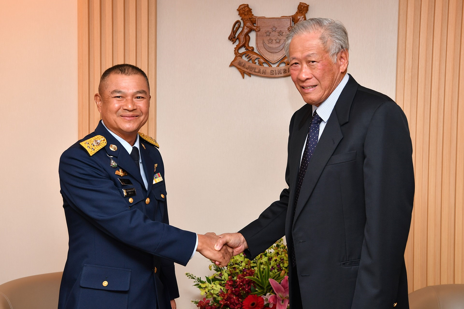 Commander-In-Chief of the Royal Thai Air Force, Air Chief Marshal (ACM) Maanat Wongwat (left) calling on Minister for Defence Dr Ng Eng Hen (right) this morning at the Ministry of Defence (MINDEF).