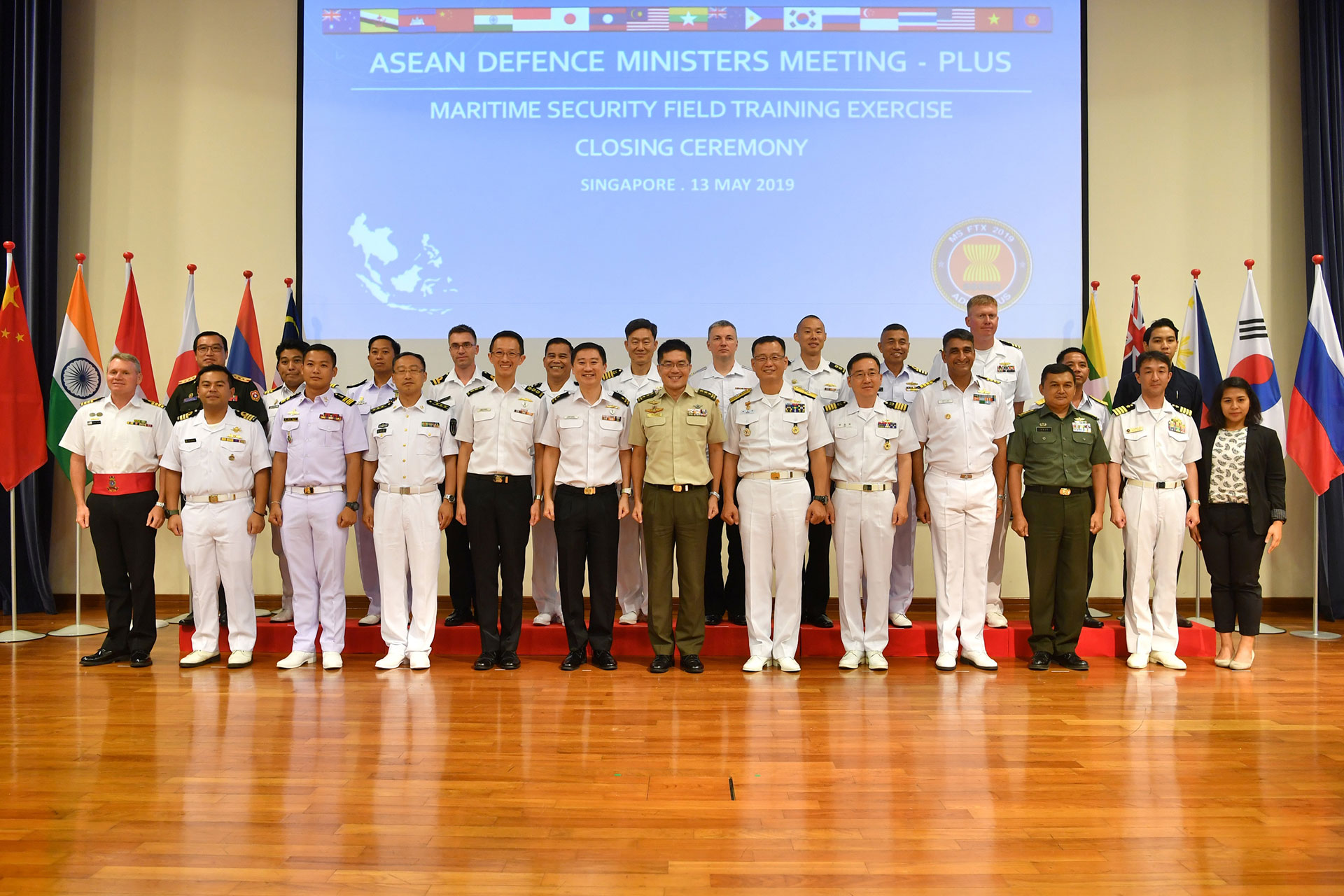 Singapore Chief of Defence Force Lieutenant-General Melvyn Ong (centre) with representatives from the ADMM-Plus navies.
