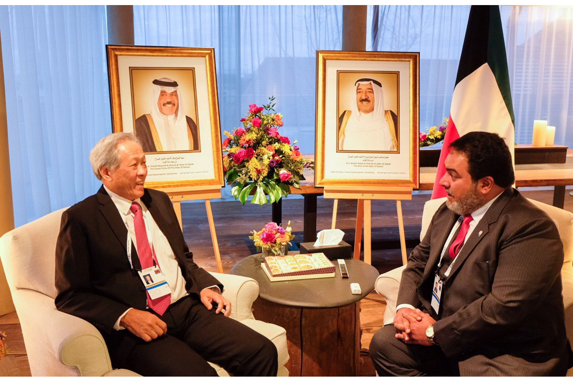Dr Ng (left) met President of the Kuwait National Security Bureau on the sidelines of the MSC.