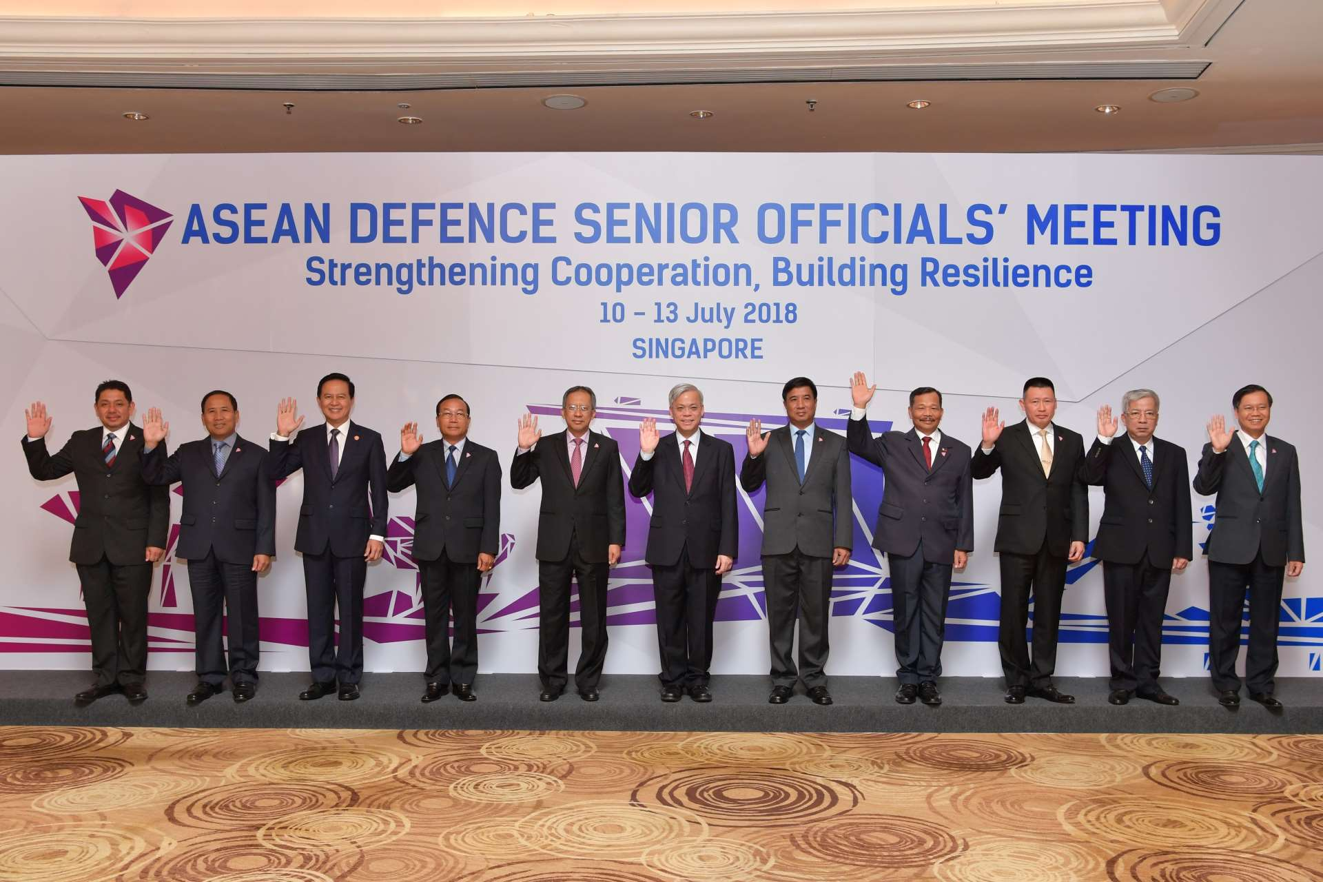 The ASEAN senior defence officials attending the ASEAN Defence Senior Officials' Meeting (ADSOM) held at Mandarin Oriental Hotel, Singapore.
