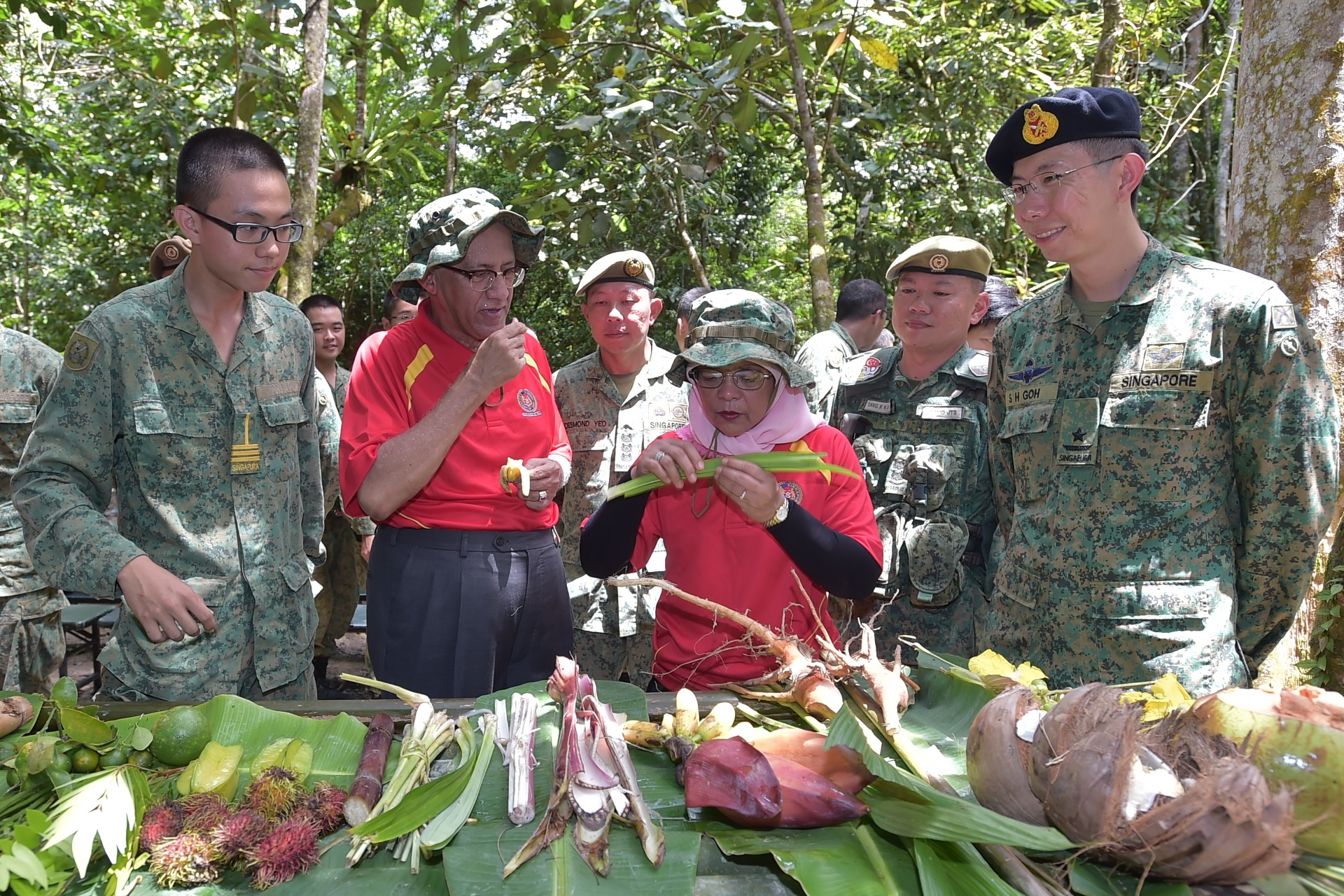 President Halimah (third from right) examining the various types of edible plants in Temburong, as part of the SAF's jungle and survival training.
