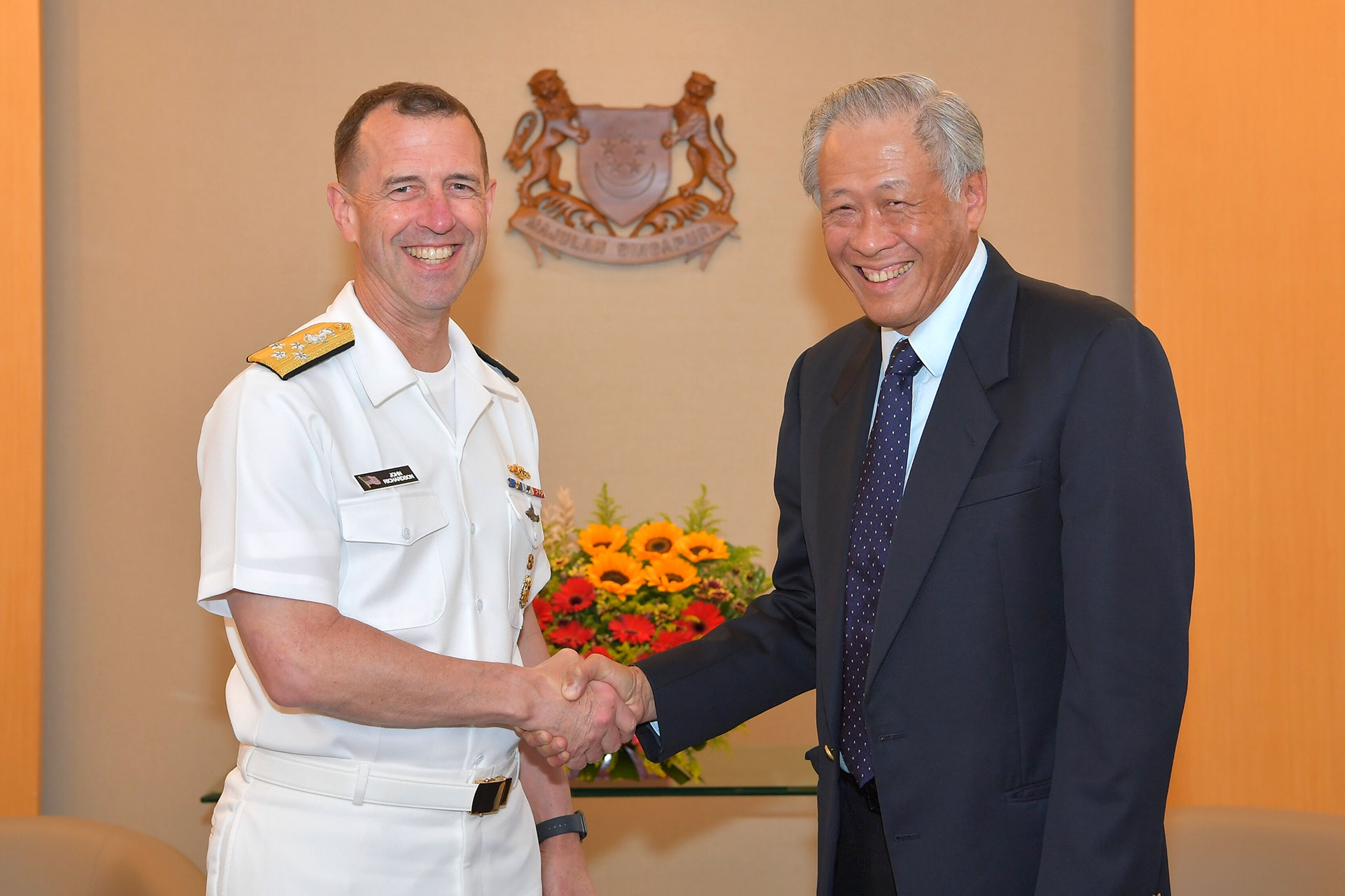 The United States' Chief of Naval Operations Admiral John M. Richardson (left) calling on Minister for Defence Dr Ng Eng Hen (right) at the Ministry of Defence this afternoon.