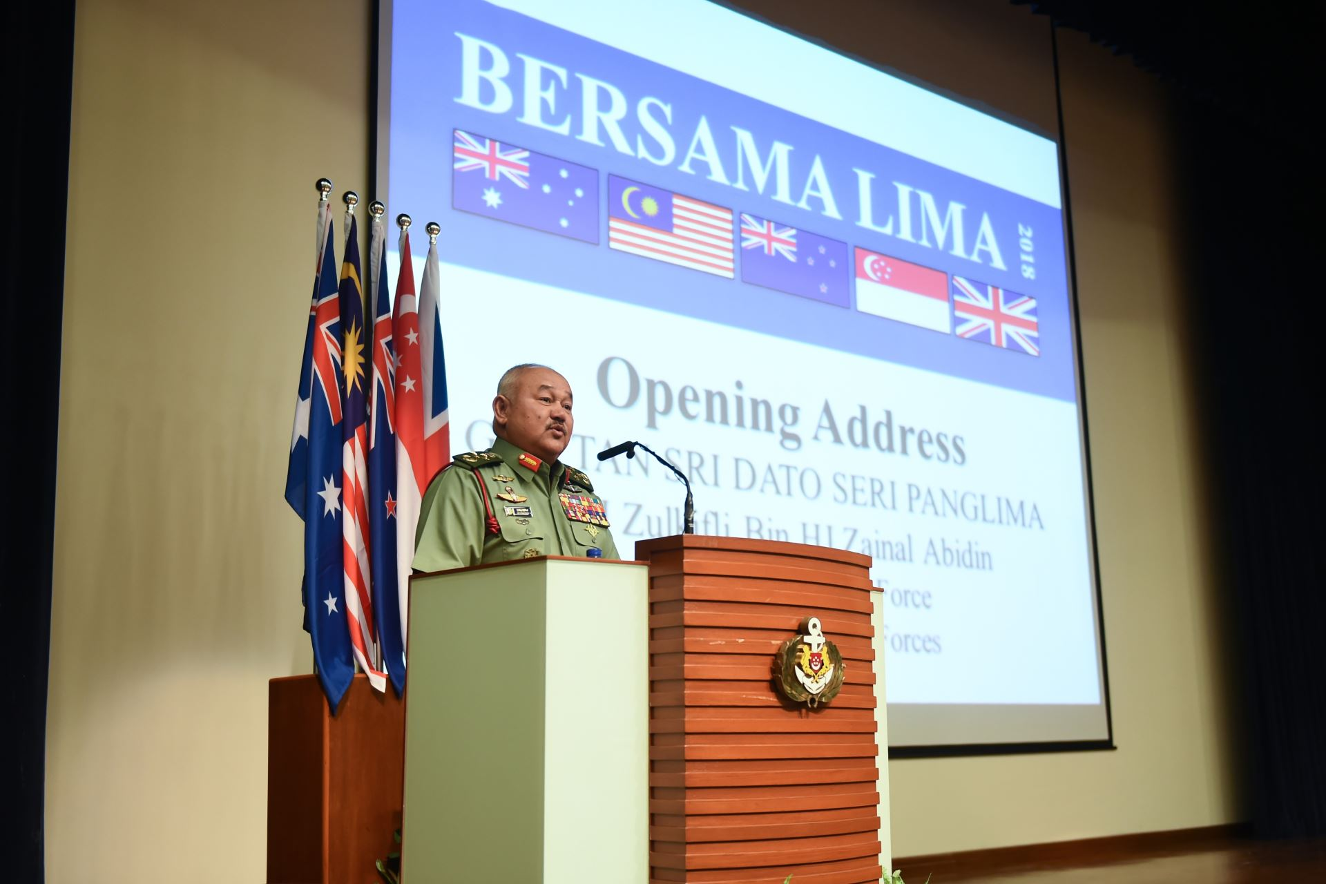 GEN Zulkifli giving the opening address at the opening ceremony of Ex Bersama Lima.