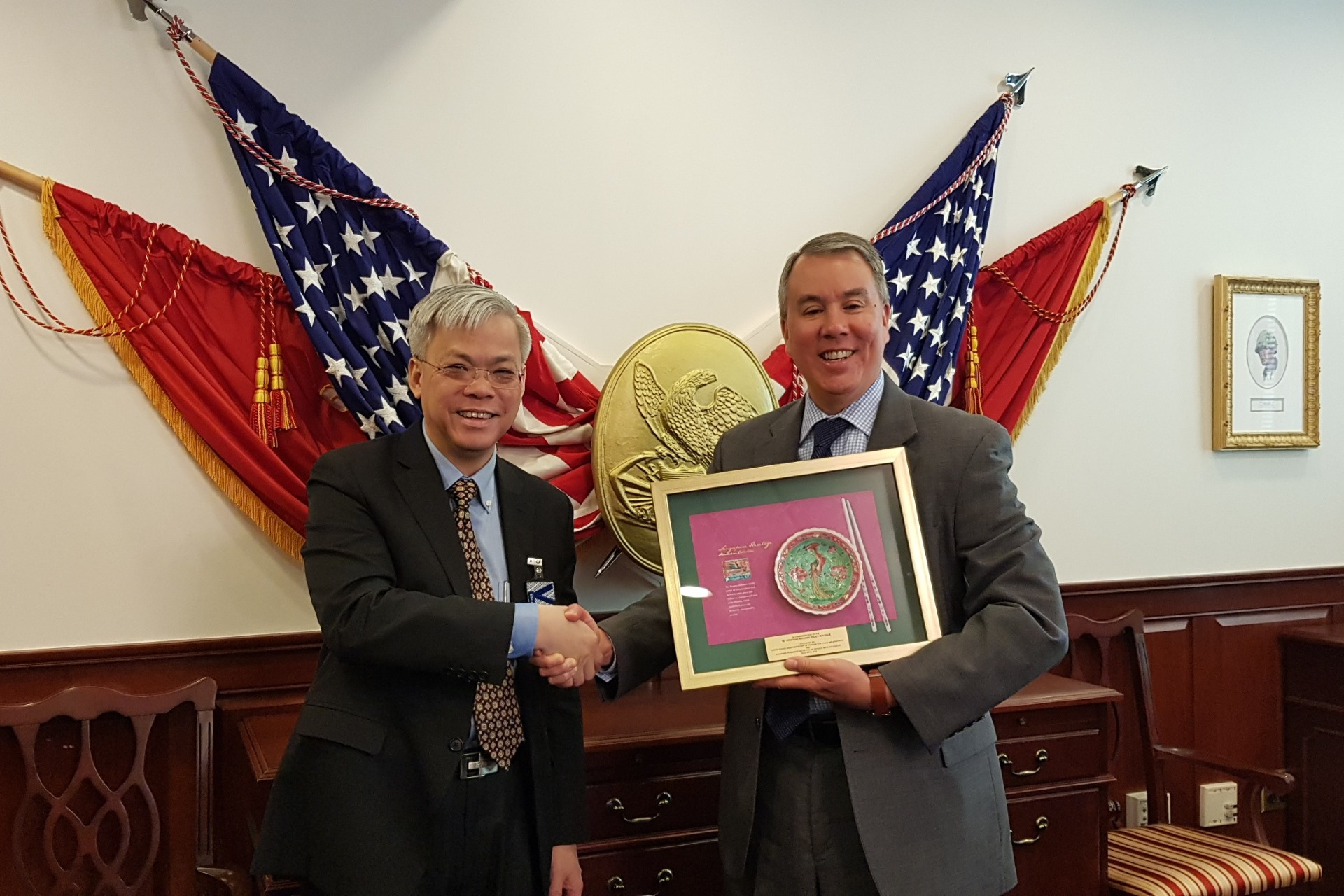 Permanent Secretary for Defence Mr Chan Yeng Kit (left) and United States Under Secretary of Defense for Policy Mr John Rood (right) meeting at the Pentagon in Washington D.C. during the 10th SG-US Strategic Security Policy Dialogue (SSPD).