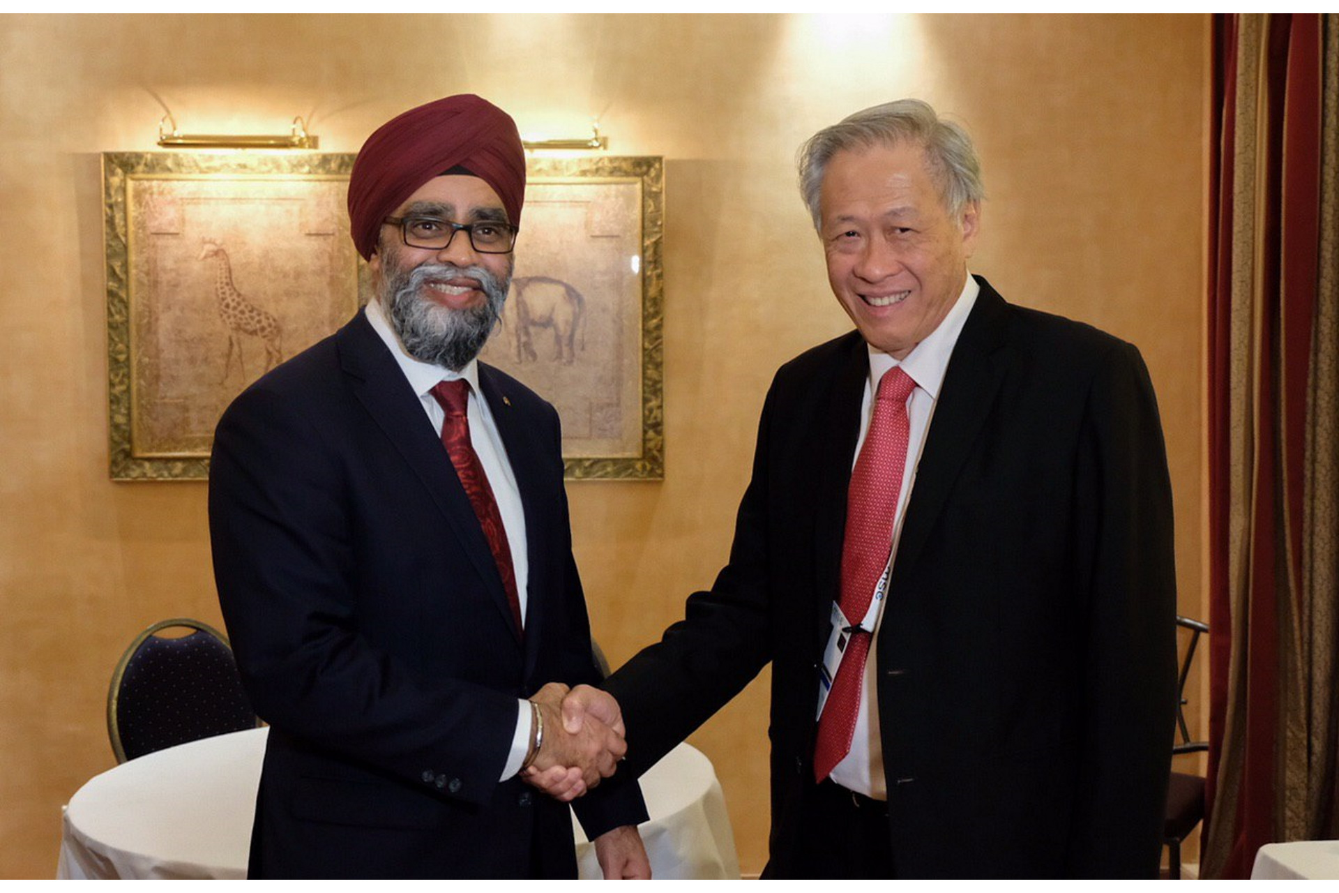 Dr Ng (right) met Canadian Minister of National Defence Harjit Singh Sajjan on the sidelines of the MSC.