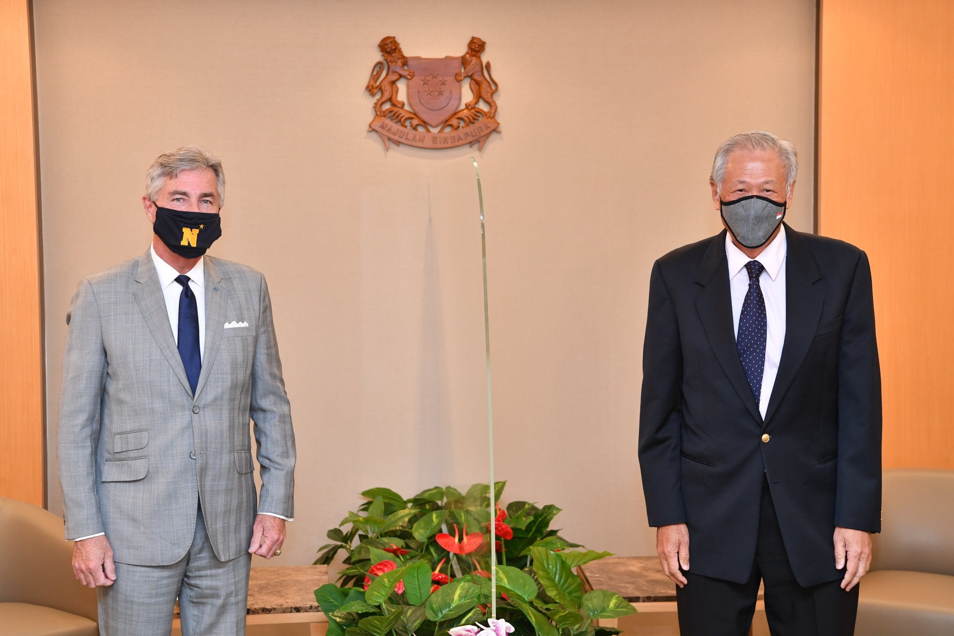 US Secretary of the Navy Kenneth Braithwaite (left) calling on Minister for Defence Dr Ng Eng Hen (right) at the Ministry of Defence (MINDEF).