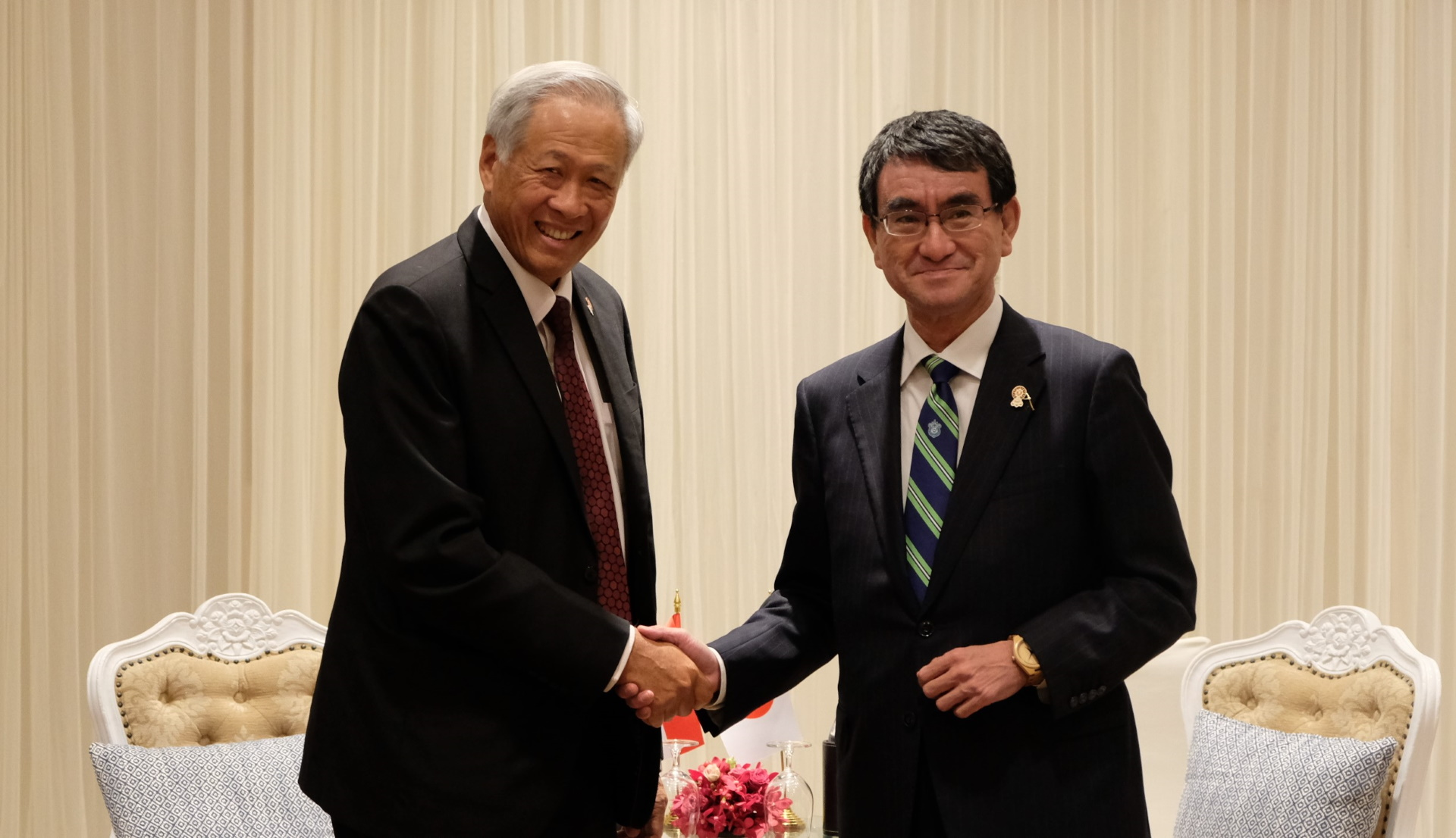 Dr Ng met Japanese Minister for Defence Taro Kono on the sidelines of the ADMM Retreat and 6th ADMM-Plus yesterday.