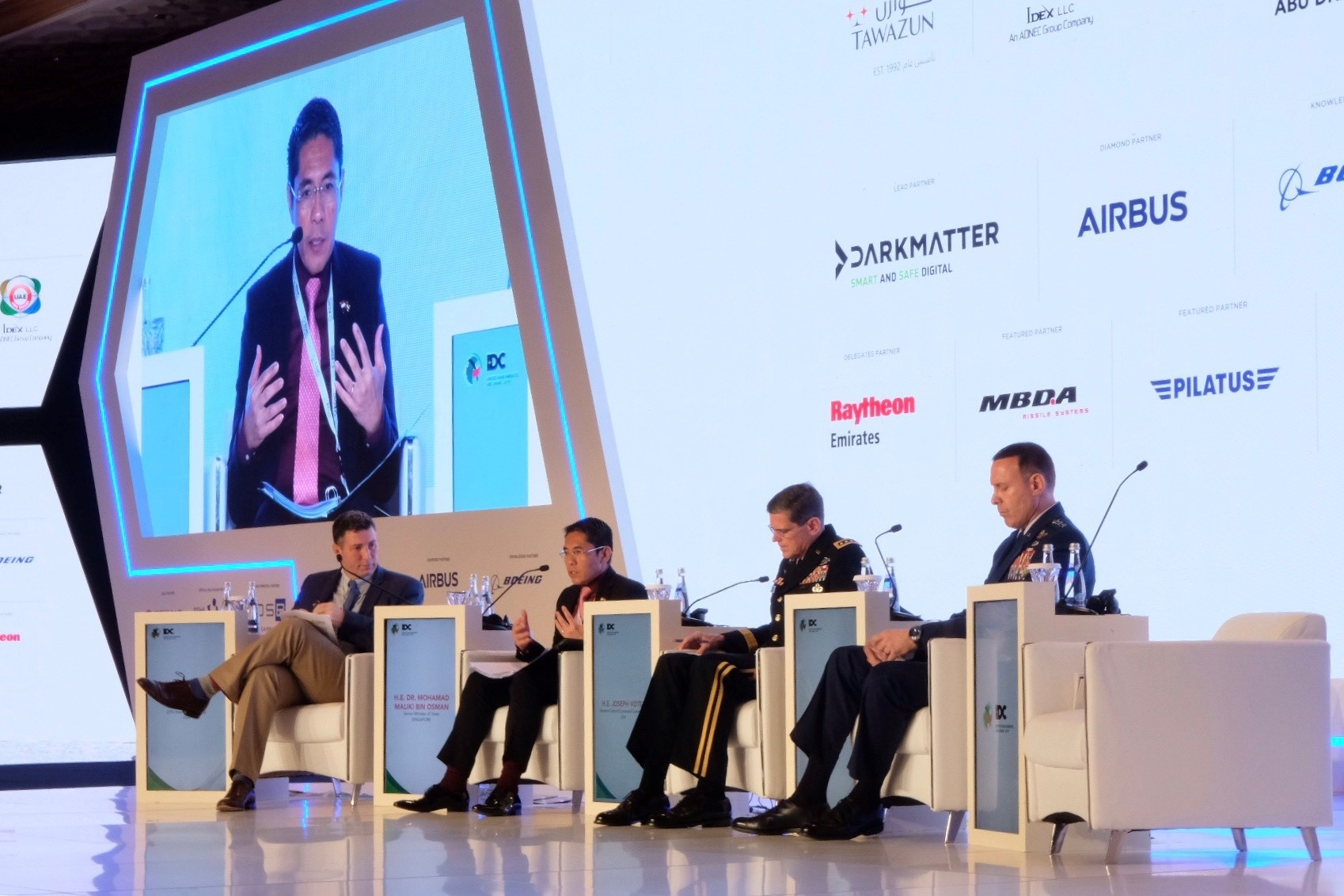 Senior Minister of State for Defence Dr Mohamad Maliki bin Osman (second from left) speaking on the panel for the topic -
