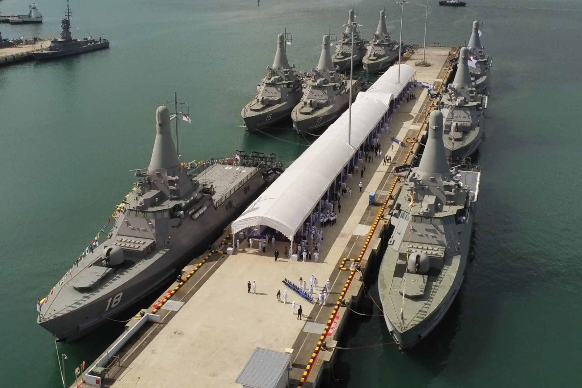 The Republic of Singapore Navy (RSN)'s fleet of Littoral Mission Vessels (LMVs) at Tuas Naval Base.