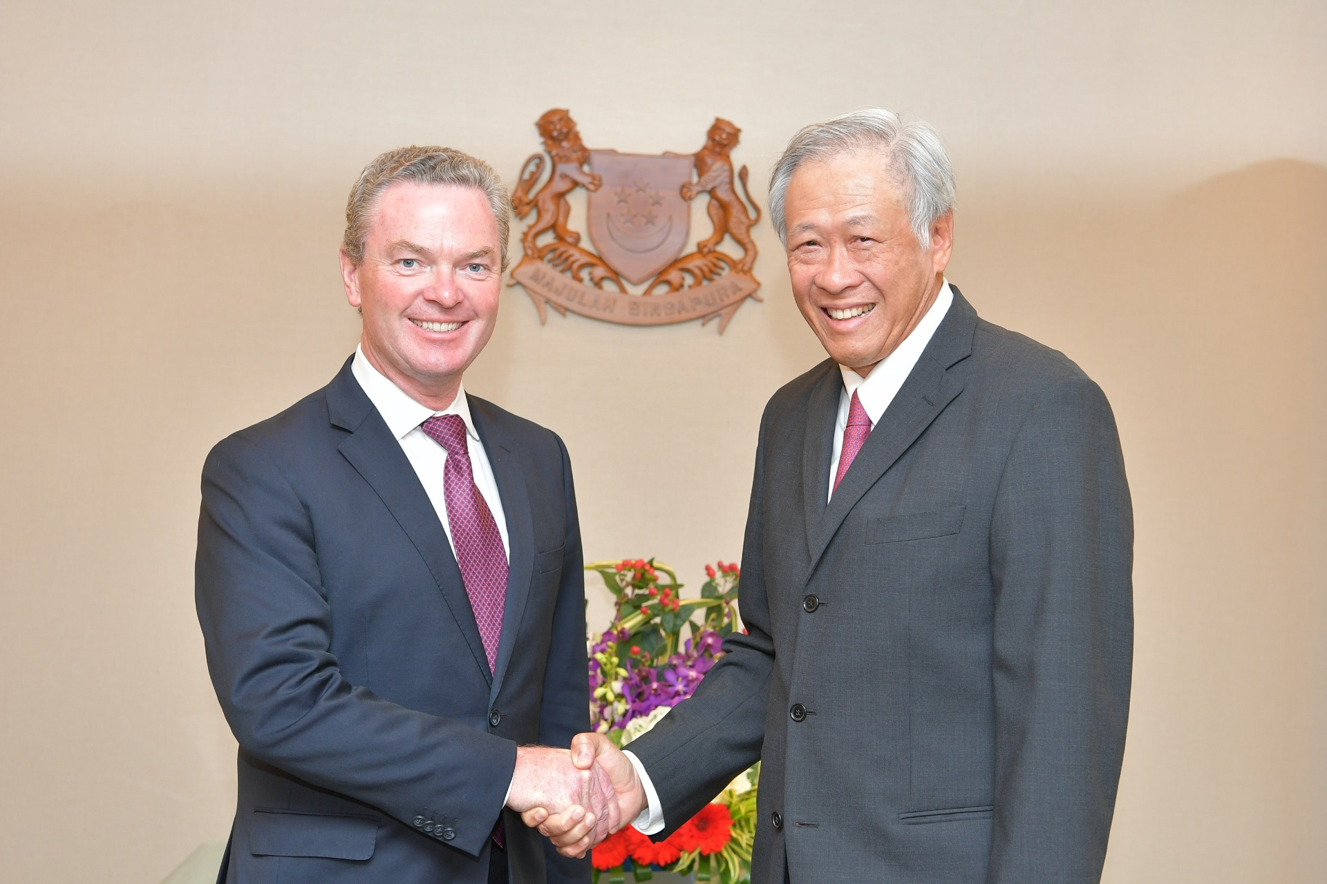 Australian Minister for Defence Christopher Pyne calling on Minister for Defence Dr Ng Eng Hen this morning.