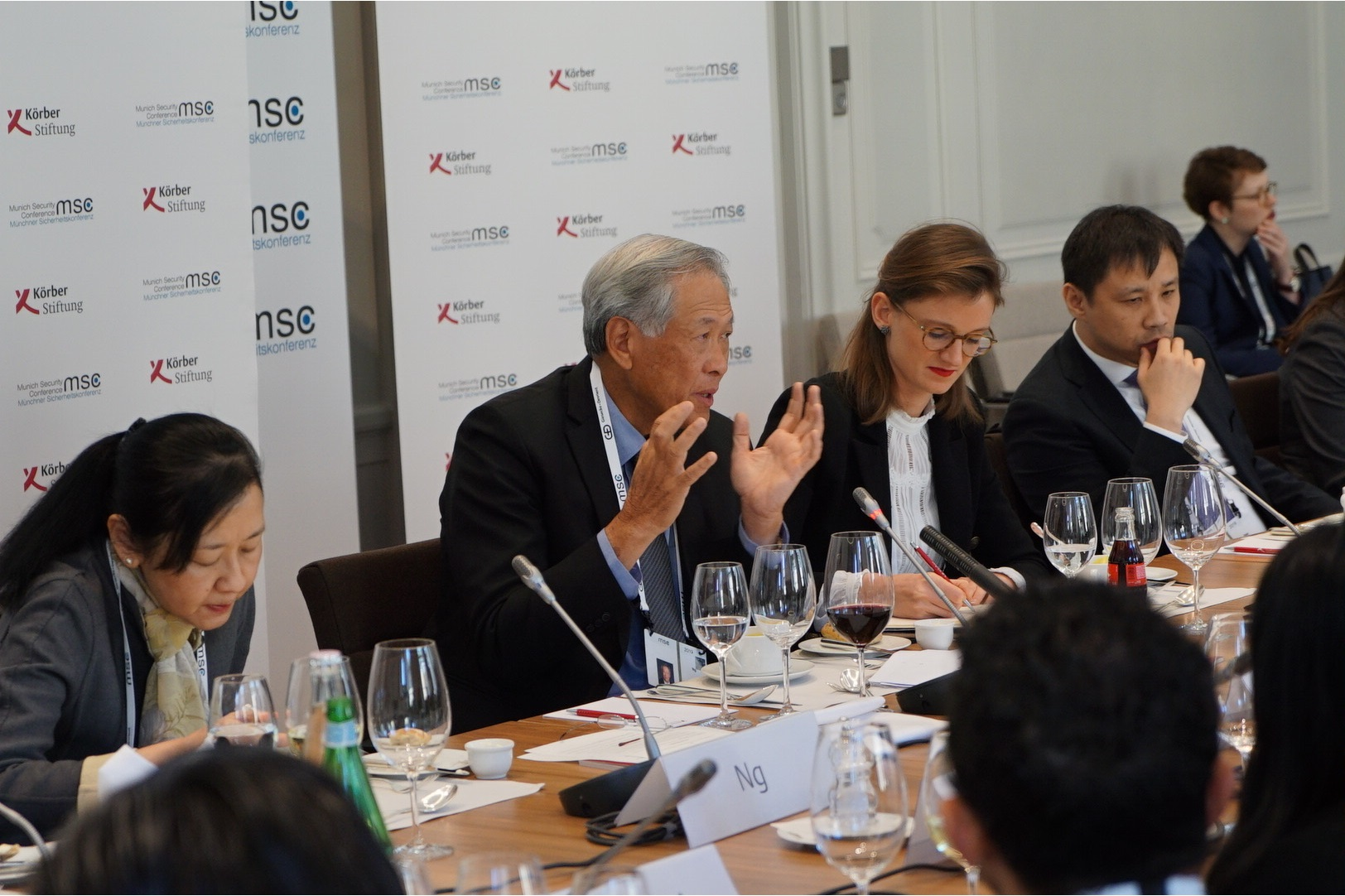 Minister for Defence Dr Ng Eng Hen speaking at the 11th Munich Young Leaders' Roundtable on the topic