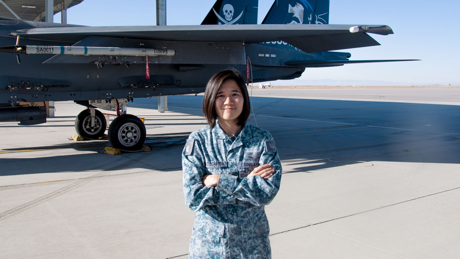 ME2 Joan Teo with the F-15SG at Peace Carvin V, Mountain Home, Idaho